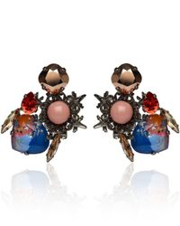 Vickisarge - Blue Palladiumplated Moroccan Rose Crystal Earrings - Lyst