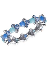 Nine West - Silver-tone Blue Multi-stone Stretch Bracelet - Lyst