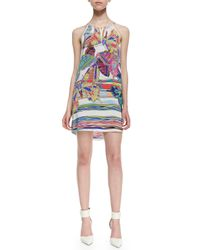 Amanda Uprichard - White Butterfly Print Chain Threaded Halter Dress  - Lyst