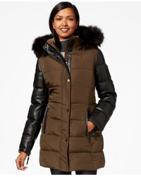 Calvin Klein | Green Faux-fur-trim Mixed-media Puffer Coat | Lyst