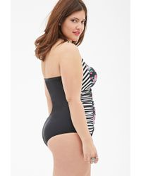 Forever 21 - Multicolor Striped Floral One-piece Swimsuit - Lyst