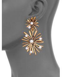 Oscar de la Renta   Metallic Starburst Faux Pearl Clip-On Drop Earrings   Lyst