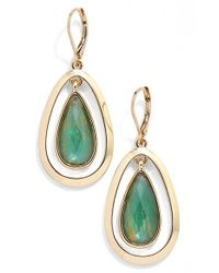 Anne Klein - Green Oscillating Teardrop Earrings - Lyst