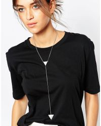 ASOS | Metallic Semi Precious Y Necklace | Lyst