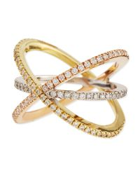 Roberto Coin | Yellow 18k Tricolor Gold Diamond Double-crisscross Ring | Lyst