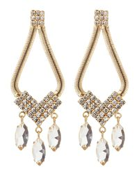 R.j. Graziano | Yellow Serpentine Chain Crystal Chandelier Earrings | Lyst