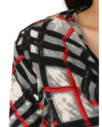 Izabel London | Red Draped Check Print Top With Zip Detail | Lyst