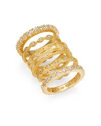 Freida Rothman | Metallic 14k Yellow Gold Vermeil Sparkle Stack Ring Set | Lyst