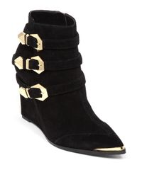 Vince Camuto | Black Kannon Buckled Wedge Booties | Lyst