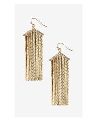Express - Metallic Metal Fringe Chevron Earrings - Lyst