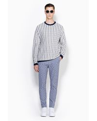 3.1 Phillip Lim - Black Long Sleeve Crewneck Pullover With Tonal Plaid Stripes for Men - Lyst
