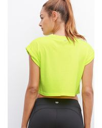 Forever 21 - Yellow Active Gym Graphic Crop Top - Lyst
