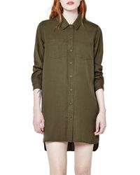 French Connection - Green Tencel Shirt Dress - Lyst