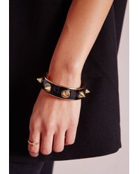 Missguided | Heavy Spike Bangle Black | Lyst