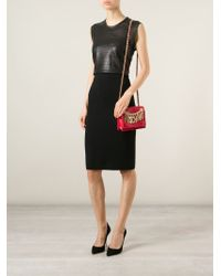Moschino - Red Logo-Chain Calf-Leather Cross-Body Bag - Lyst