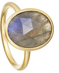 Astley Clarke | Metallic Labradorite Large Oval Stilla 18ct Yellow Gold-plated Ring - For Women | Lyst