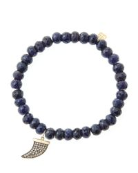 Sydney Evan - Blue 6Mm Faceted Sapphire Beaded Bracelet With 14K Gold/Diamond Medium Horn Charm (Made To Order) - Lyst