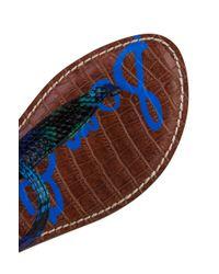 Sam Edelman - Gigi Blue Swamp Snake Print T-Strap Flat Sandals - Lyst