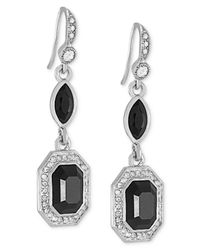 Carolee | Metallic Silver-tone Jet Emerald-cut Drop Earrings | Lyst
