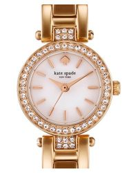 kate spade new york | Metallic 'tiny Gramercy' Crystal Bezel Bracelet Watch | Lyst