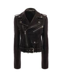 Alexander McQueen - Black Studded Grainy Leather Biker Jacket - Lyst