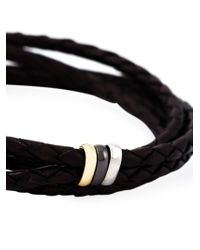 Paul Smith - Brown Woven Leather Bracelet for Men - Lyst