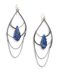 Alexis Bittar - Metallic Miss Havisham Kinetic Gun Lapis & Crystal Draped Chain Drop Earrings - Lyst