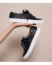 Tory Burch - Black Marion Quilted Sneaker - Lyst