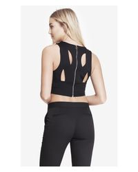 Express | Black Crisscross Zip Back Crop Top | Lyst