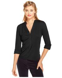 Maison Jules - Black Three-Quarter-Sleeve V-Neck Top - Lyst