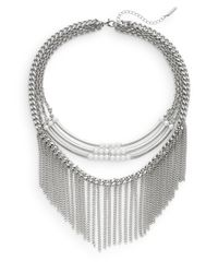 Saks Fifth Avenue | Metallic Embellished Multi-row Fringe Collar Necklace/silvertone | Lyst