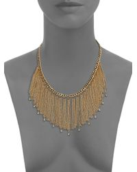 ABS By Allen Schwartz | Metallic Color Reaction Chain Tassel Bib Necklace | Lyst