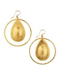 Devon Leigh - Metallic Teardrop Hoop Earrings - Lyst