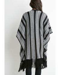 Forever 21 - Black Multi-stripe Poncho Cardigan - Lyst