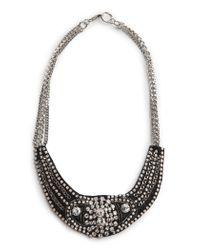 Mango   Black Rhinestone Bib Necklace   Lyst