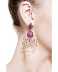 Bochic | Red White Diamond Openwork Earrings with Ruby | Lyst
