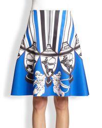 Clover Canyon Blue Athenian Vase Printed Neoprene A-Line Skirt