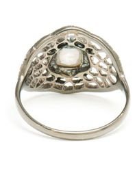 Loree Rodkin - Metallic 18kt Oxidised Gold and Grey Diamond Spiderweb Ring - Lyst