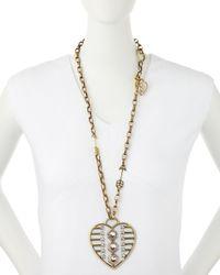 Lanvin - Metallic Heart Print Necklace - Lyst