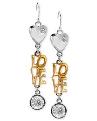 Guess | Pink Two-tone Love Drop Earrings | Lyst