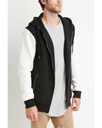 Forever 21 - Black Zippered Colorblock Hoodie for Men - Lyst