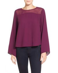 Vince Camuto | Purple Bell-Sleeved Chiffon Blouse | Lyst