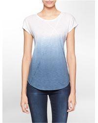 Calvin Klein - Blue Jeans Dip Dye Short Sleeve Top - Lyst