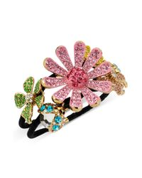 Betsey Johnson - Pink Pave Flower Hinged Bangle Bracelet - Lyst