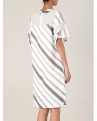 ANREALAGE - White Striped Panelled Dress - Lyst