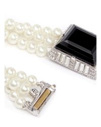 Kenneth Jay Lane - White Rectangle Crystal Pearl Bracelet - Lyst
