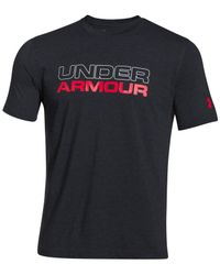 Under Armour - Black Wordmark T-shirt for Men - Lyst