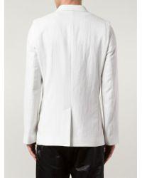Ann Demeulemeester | White Contrasting Trim Textured Blazer for Men | Lyst
