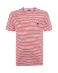Lyle & Scott | Red Fine Line Stripe Crew Neck T-shirt for Men | Lyst