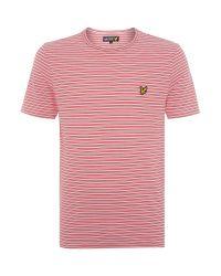 Lyle & Scott | Red Fine Line Stripe Crew Neck T-shirt for Men | Lyst